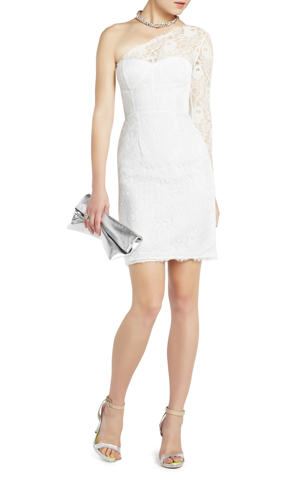 one shoulder lace cocktail dress