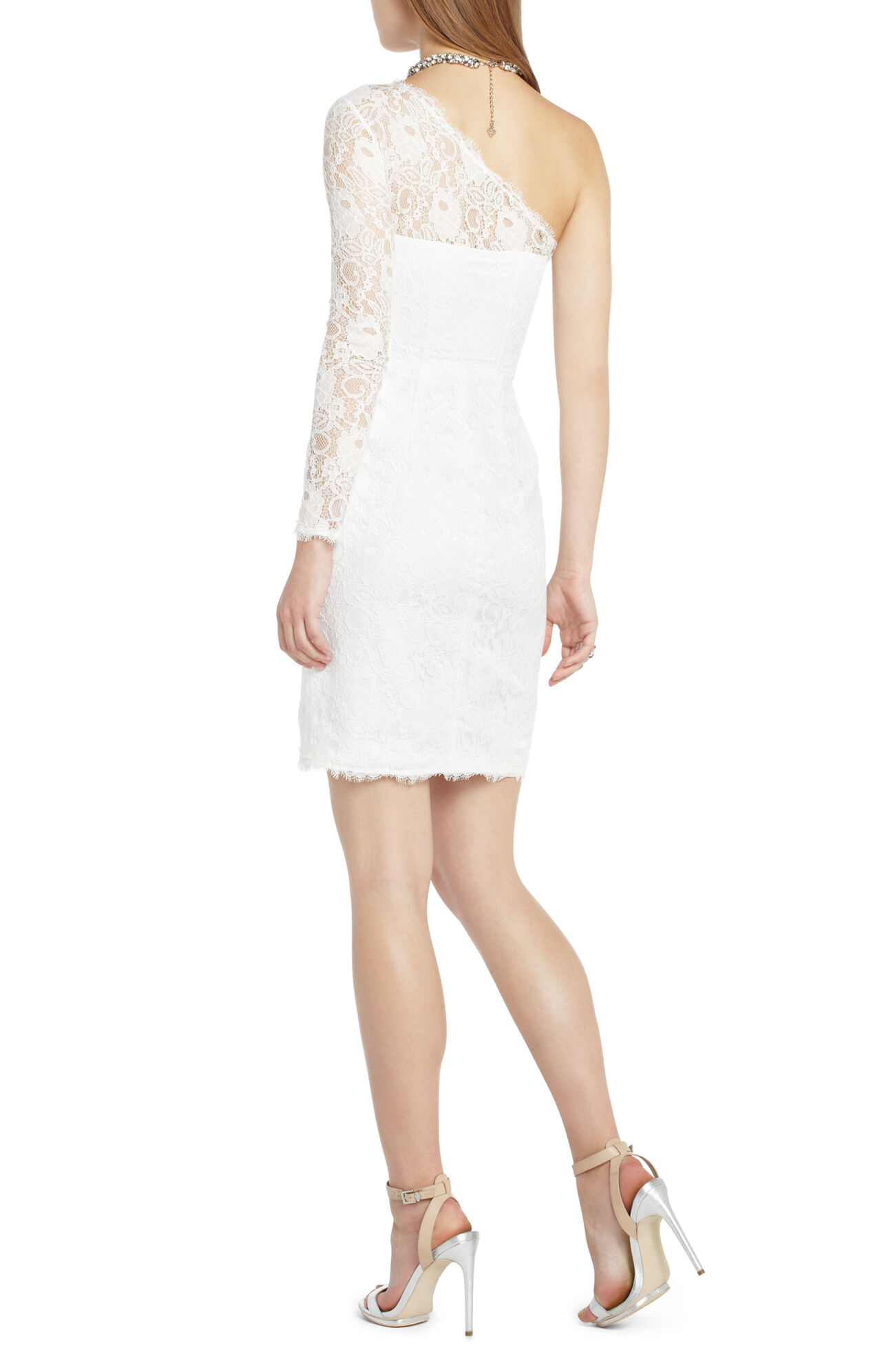 one shoulder lace cocktail dress