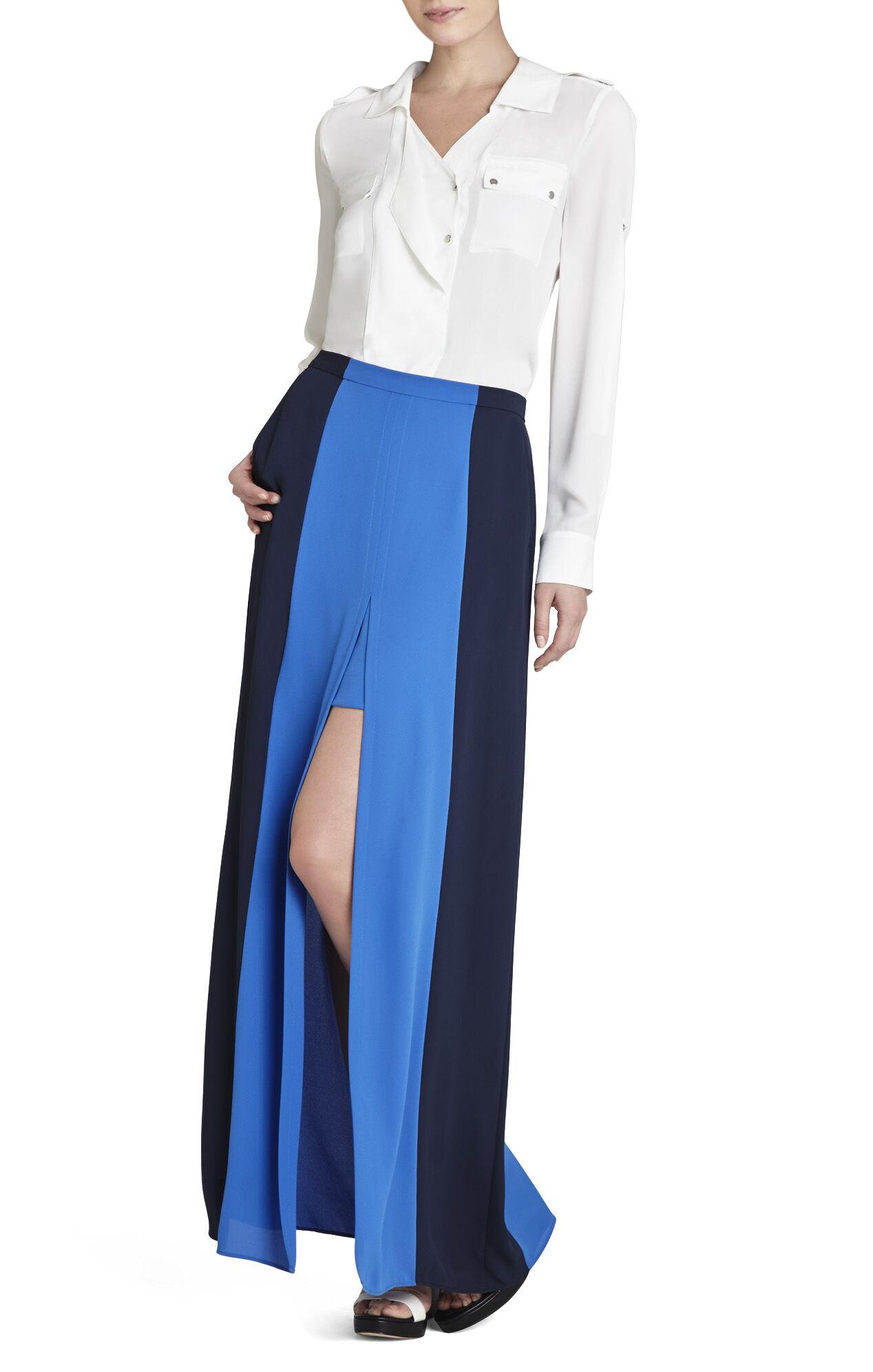 Jane Contrast-Trim Long Skirt