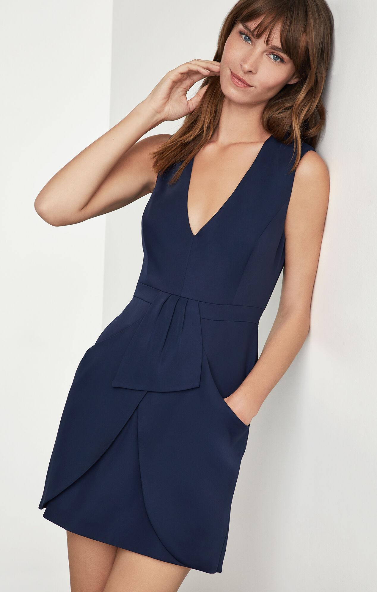 Clare Sleeveless Draped-Skirt Dress