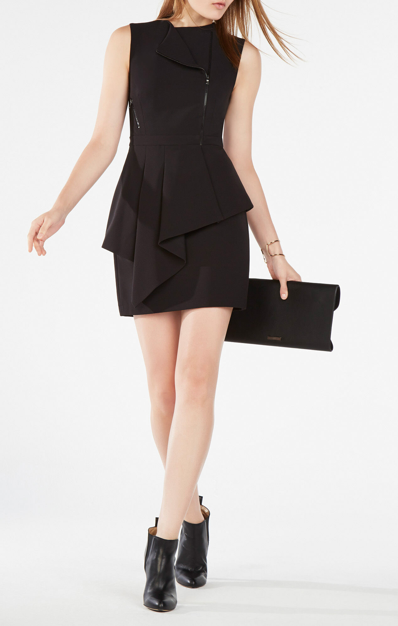 Nikki Zip-Front Peplum Dress