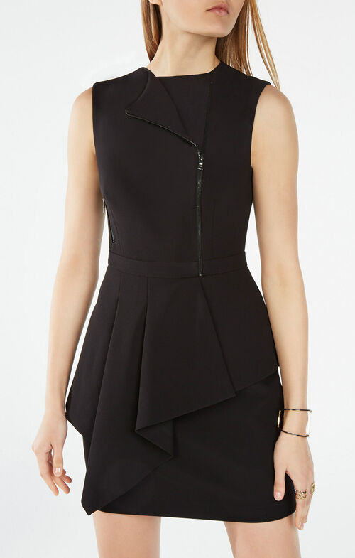 Nikki Zip-Front Peplum Dress
