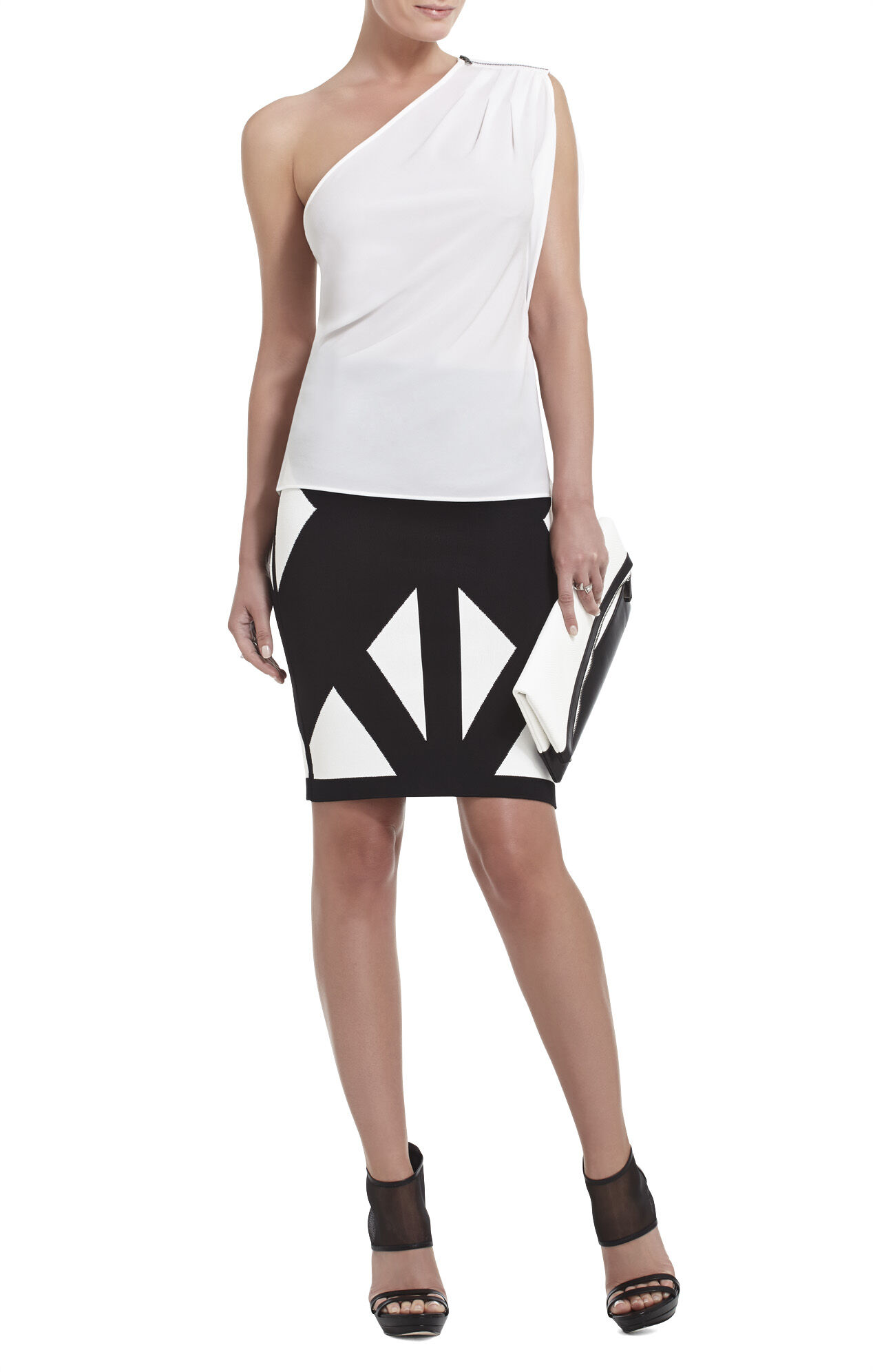 Carli One-Shoulder Pleated Top