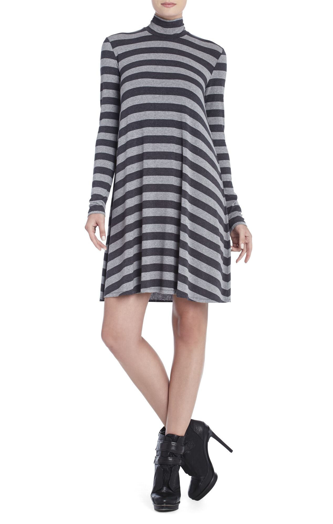 Weiss Striped Turtleneck Long-Sleeve Dress