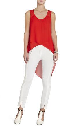 Mellie Silk Asymmetrical-Hem Draped Top