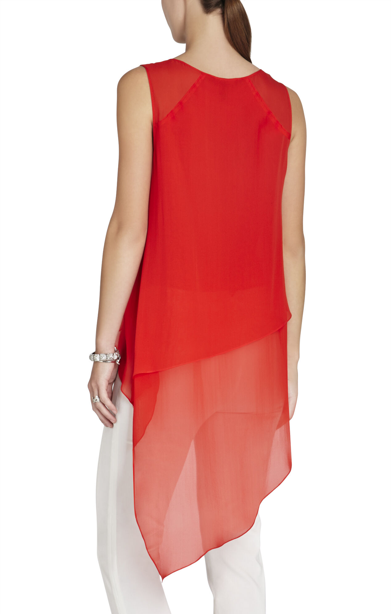 Mellie Silk Asymmetrical-Hem Draped Top