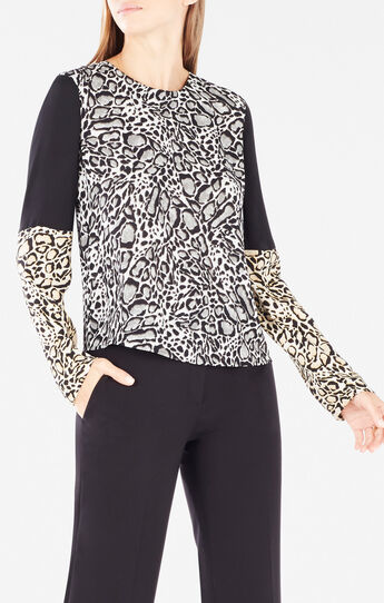 Donella Cutout Ocelot Print-Blocked Top