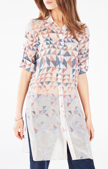 Taylur Triangle Print Button-Up Shirt