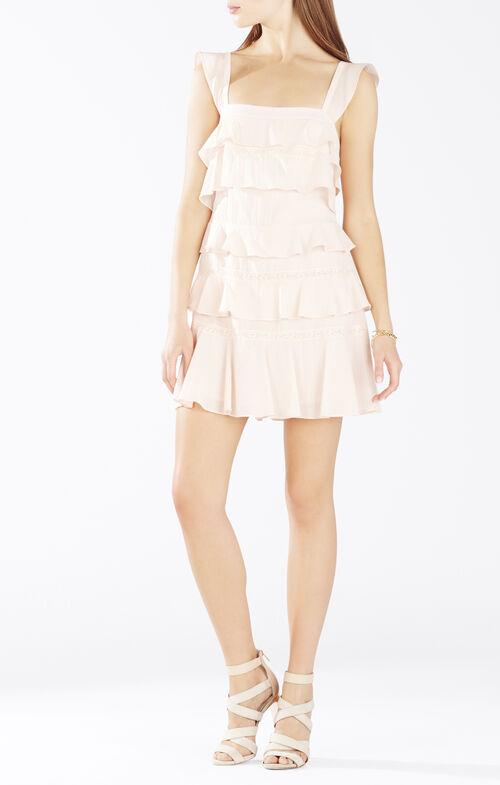 Lalani Lace-Insert Tiered Ruffle Dress