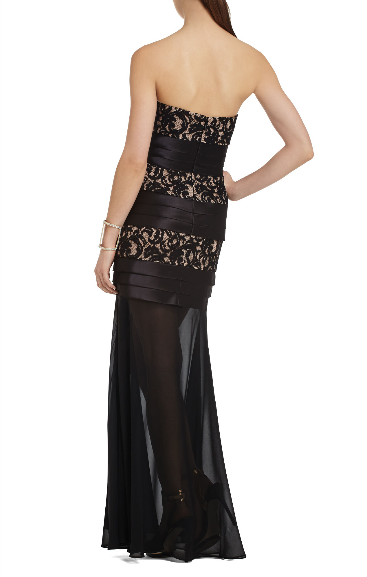 Shadie Strapless Lace-Blocked Gown