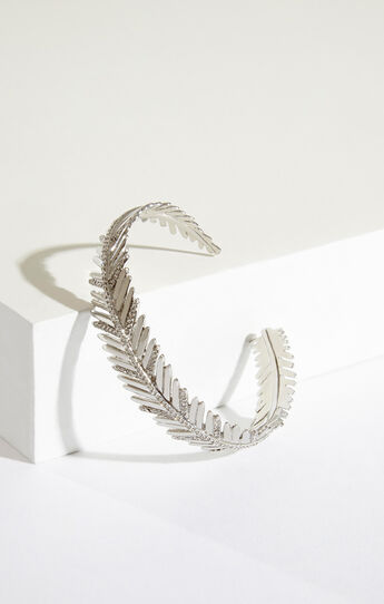 Pave Feather Cuff Bracelet