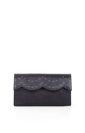 Annabelle Scallop Leather Clutch