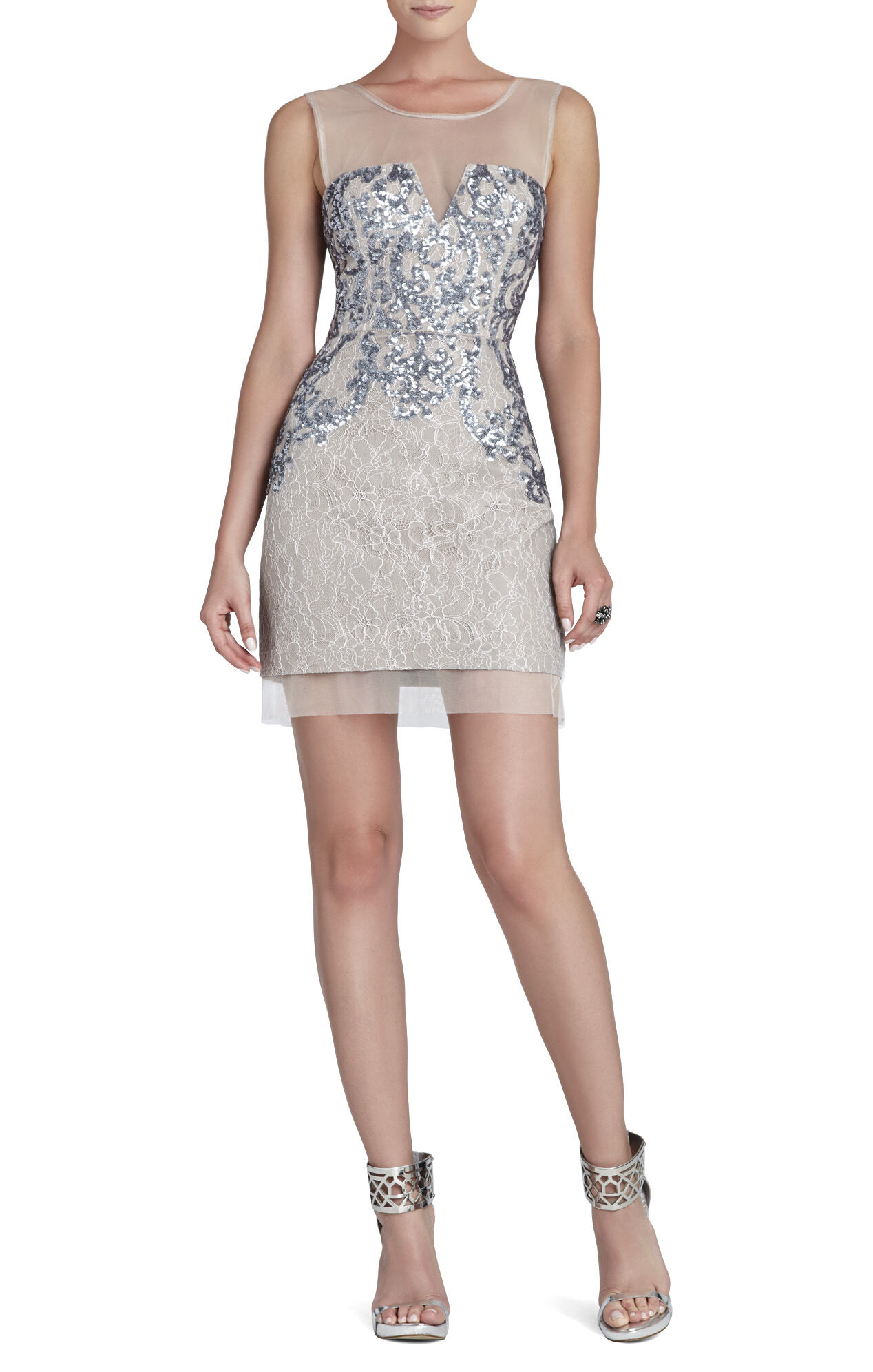 Abigail Paisley Sequined Cocktail Dress