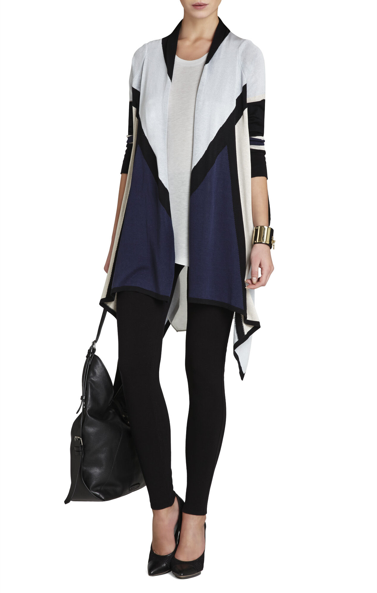 Beret Color-Blocked Cardigan Wrap