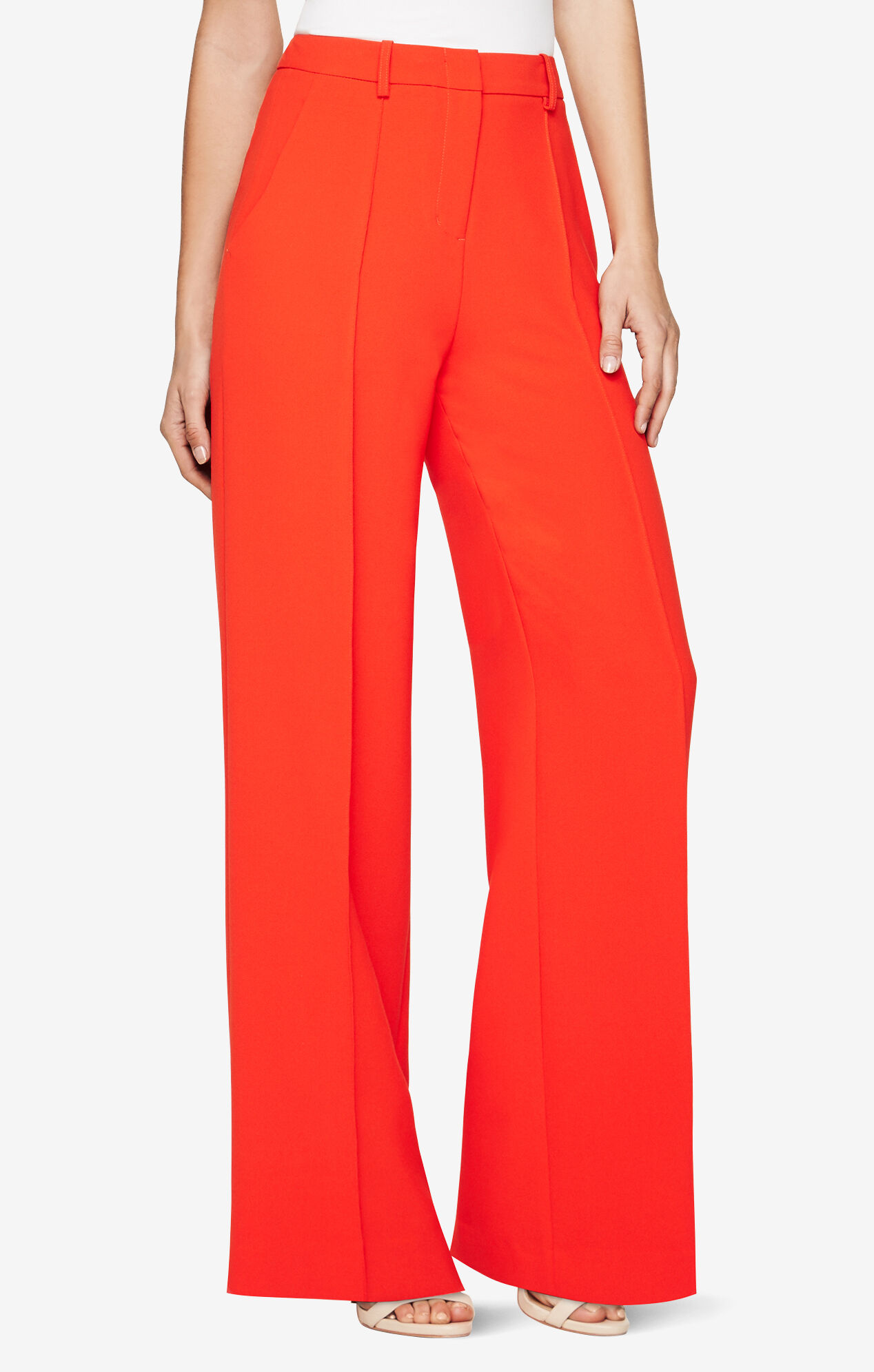 Streamline your figure in this wide leg jumpsuit made from lightweight challis.