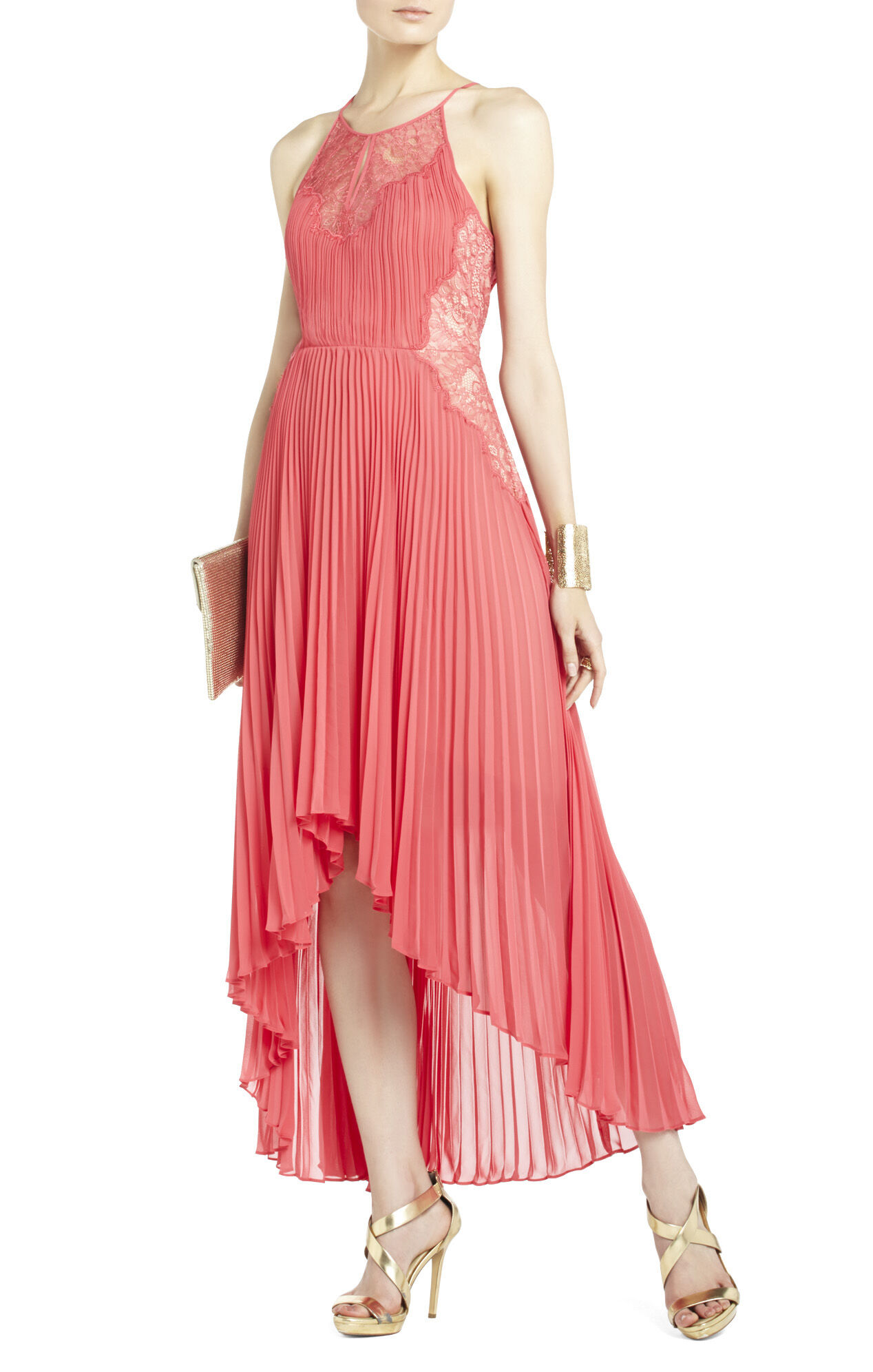 Maryella Pleated Dress with Lace Contrast
