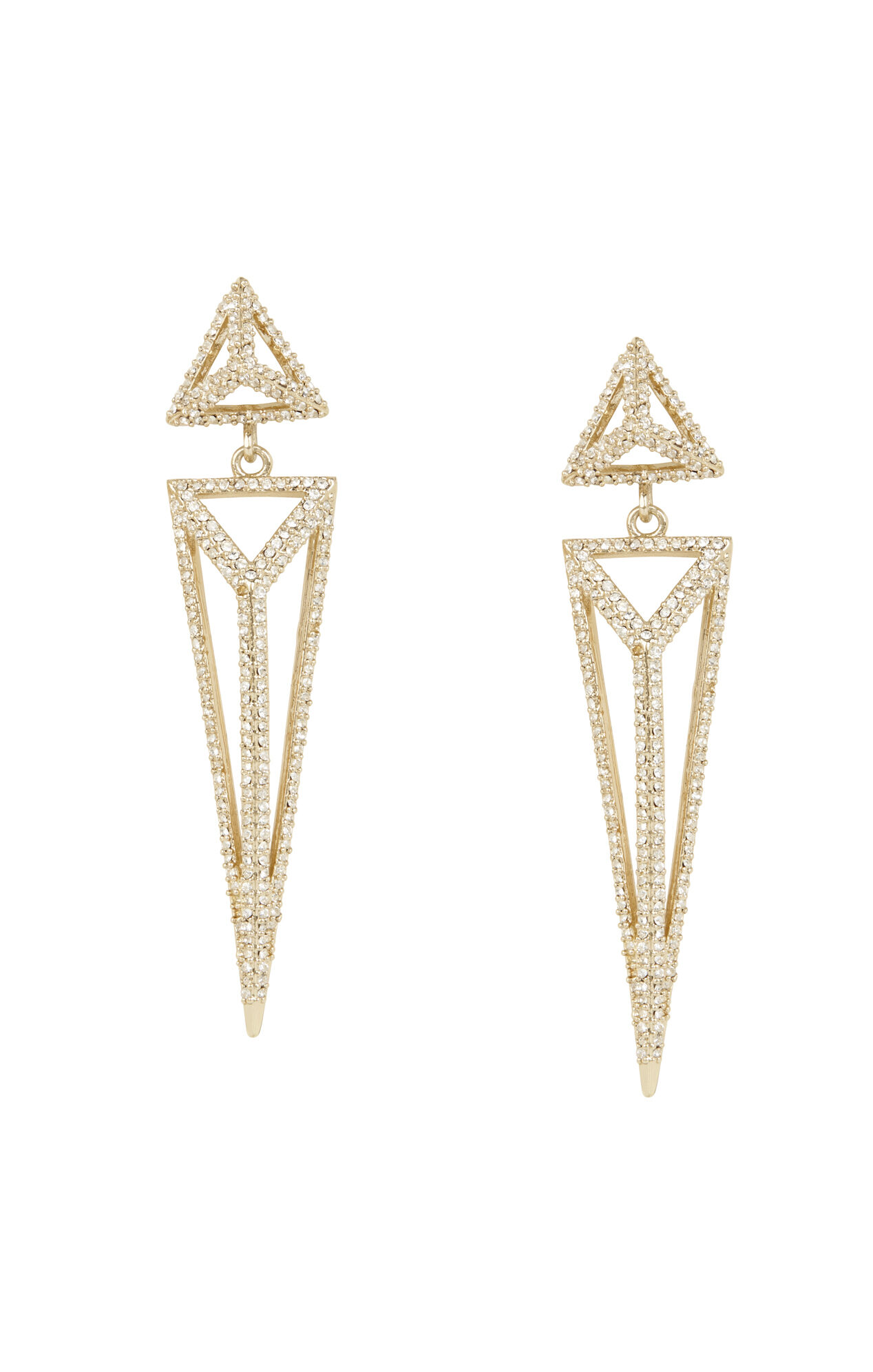 Pave Triangle Pyramid Drop Earrings