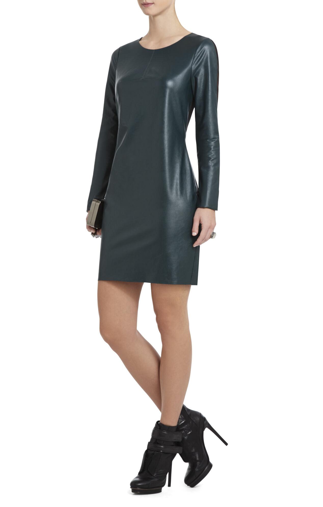 Jillea Mesh-Back Faux-Leather Dress