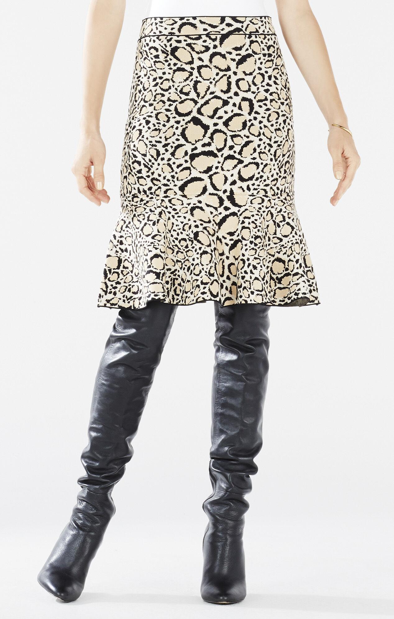 Bethani Spotted Ocelot Jacquard Peplum Skirt