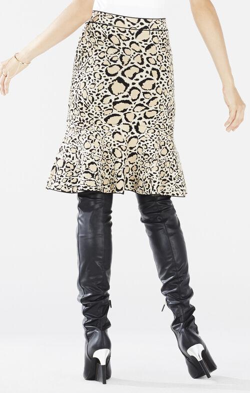 Bethani Spotted Ocelot Jacquard Flounce Skirt