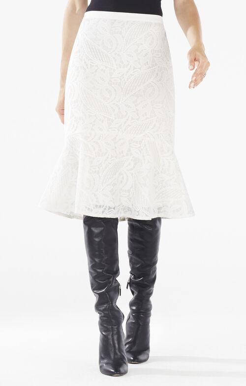 Siman Lace Flounce Hem Skirt