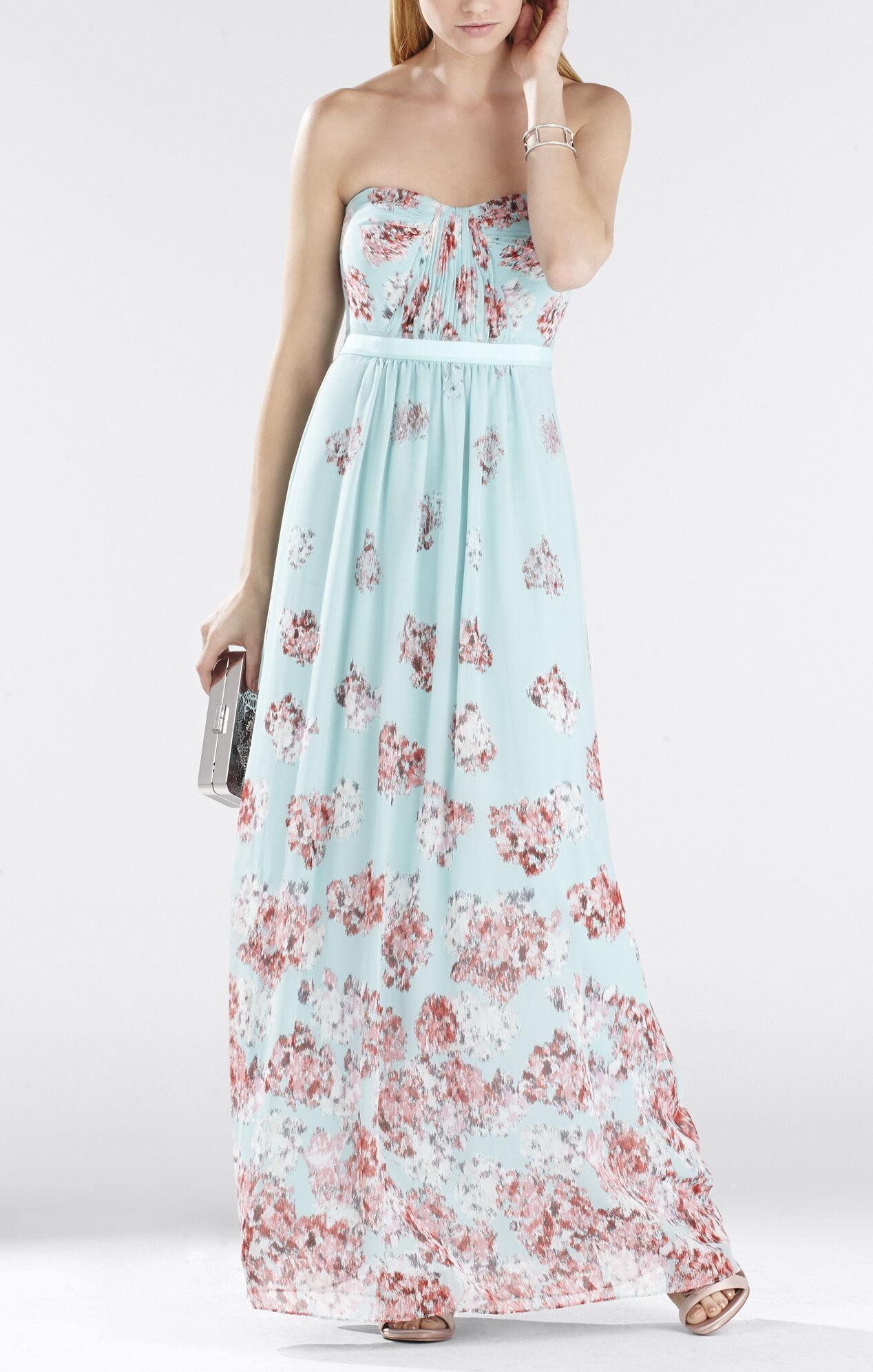 Amber Cascade Strapless Long Gown
