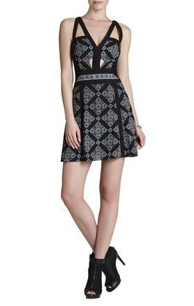 Selena V-Neck Print-Blocked Dress