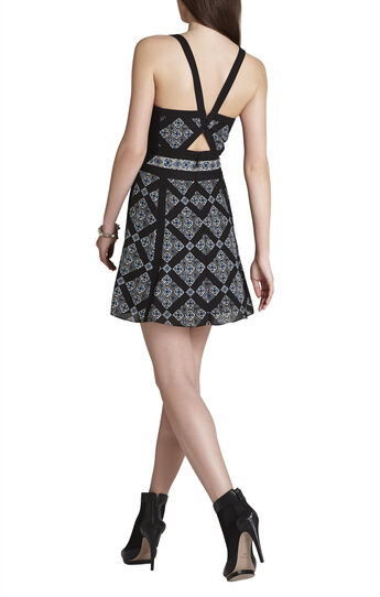 Selena V-Neck Print-Blocked Dress
