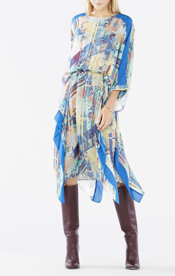 Jaelyn Asymmetrical Printed Kaftan Dress