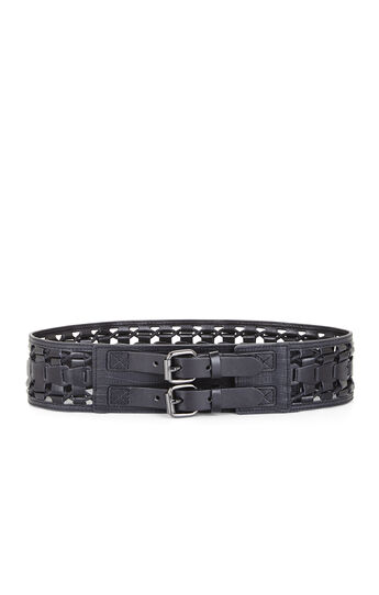 Woven Cord Faux-Leather Loops Waist Belt