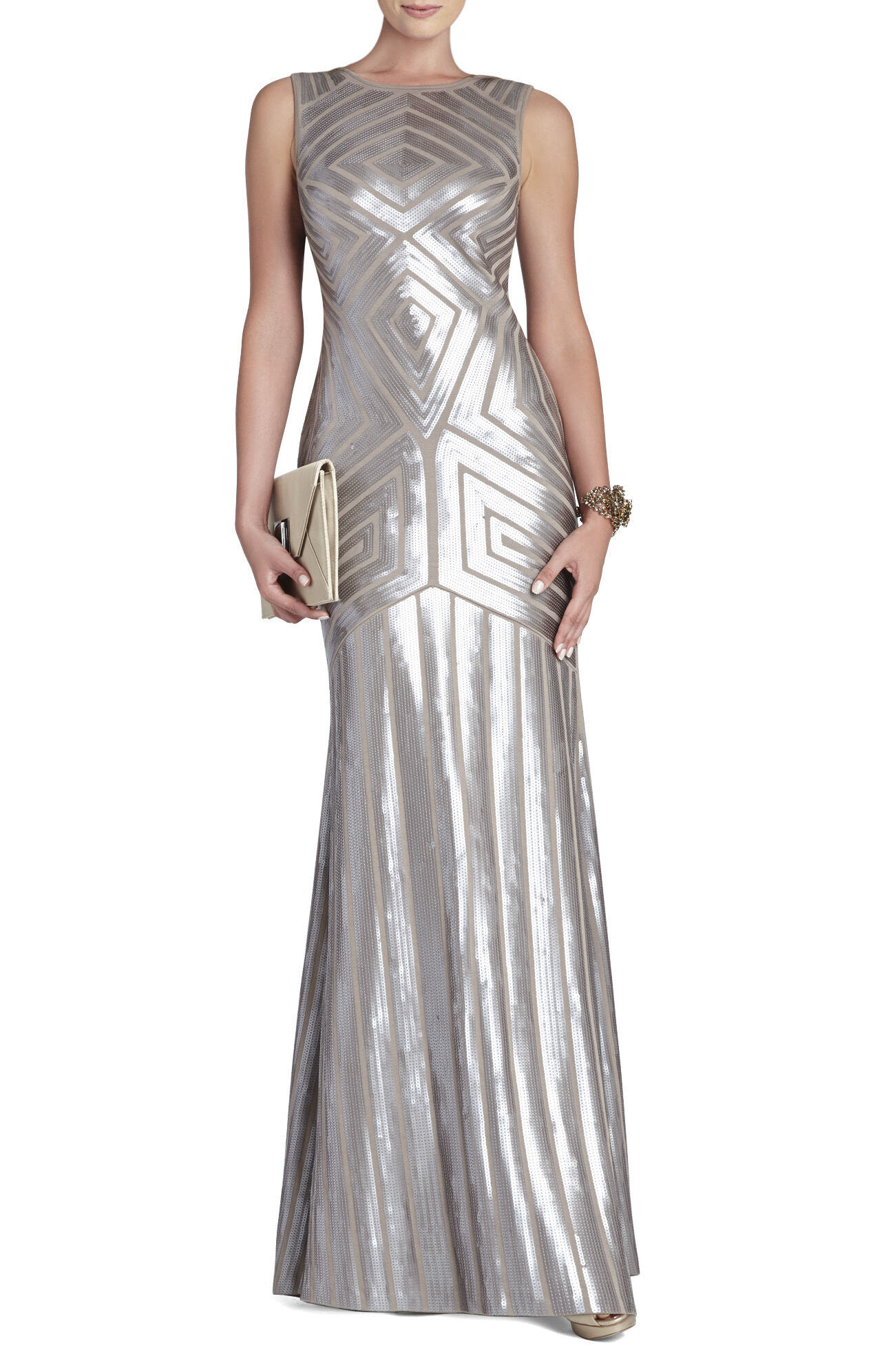 Agne Open-Back Geo-Sequined Maxi Dress