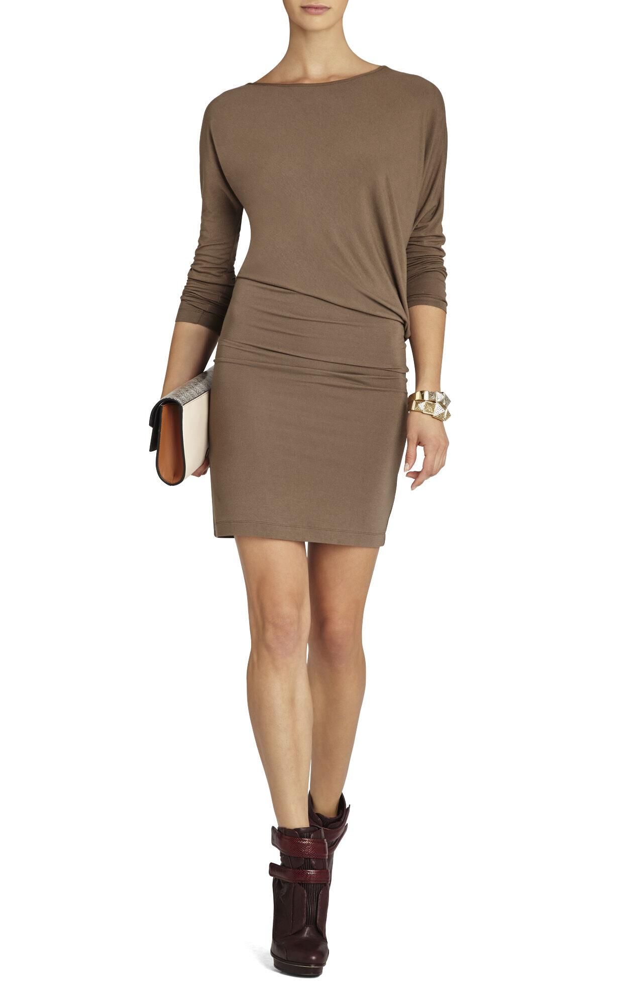 Laheld Long-Sleeve Side-Draped Tunic Dress