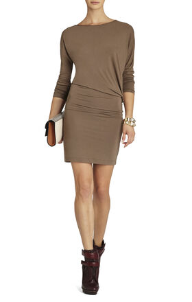 Laheld Long-Sleeve Side-Draped Tunic Dress