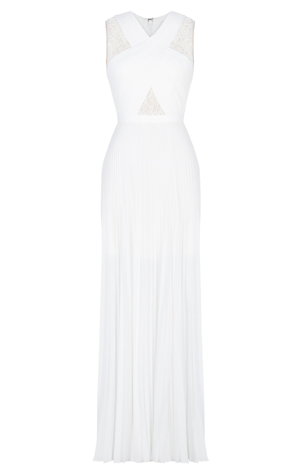 Caia Crisscross Lace Pleated Gown
