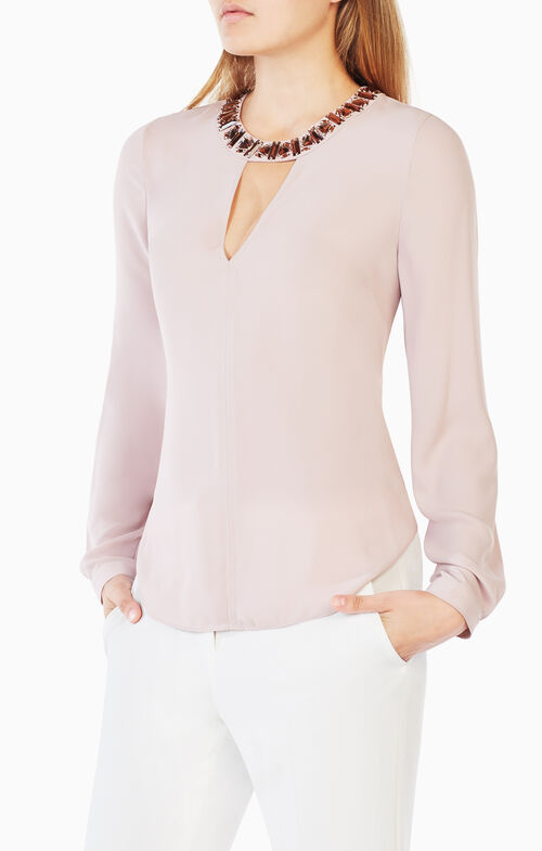 Frances Embellished-Neck Top