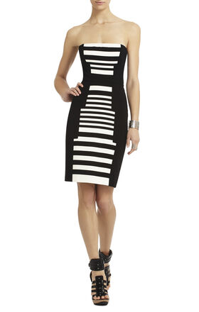 Madison Striped Print-Blocked Dress