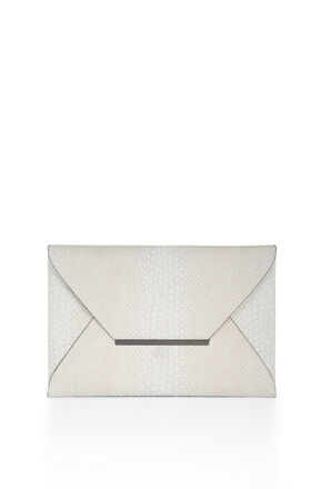 Harlow Snake-Embossed Envelope Clutch