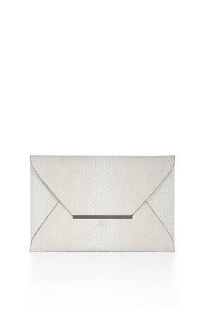 Harlow Snake-Embossed Envelope Clutch