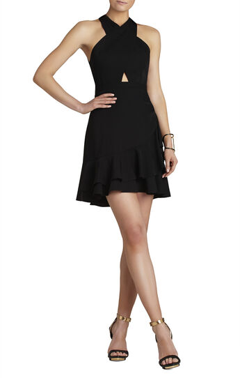 Isabele Cutout-Bodice Peplum Dress