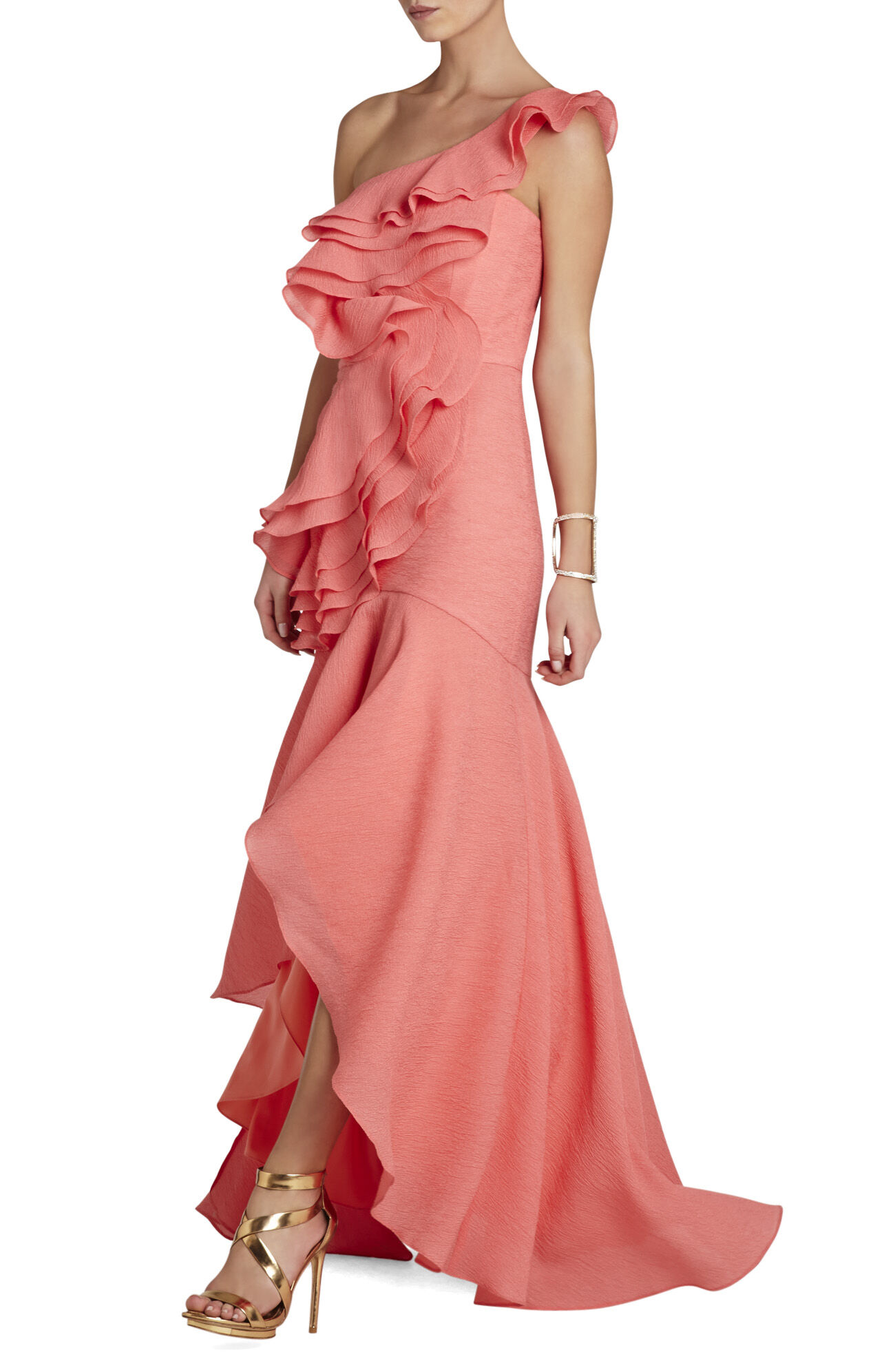Susanna Ruffled One-Shoulder Gown