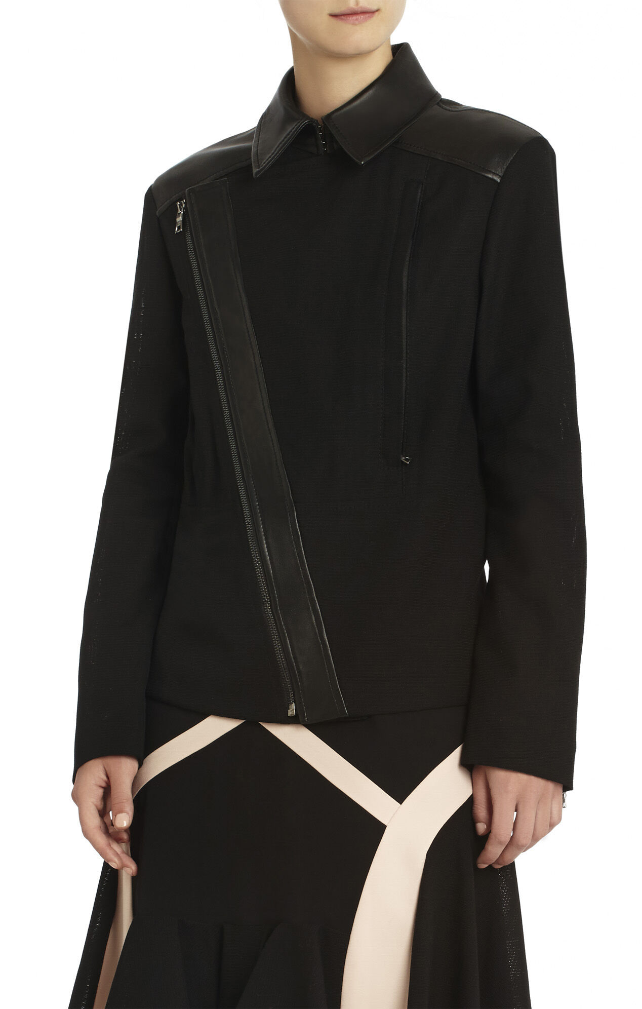 Runway Hazel Leather Contrast Mesh Jacket