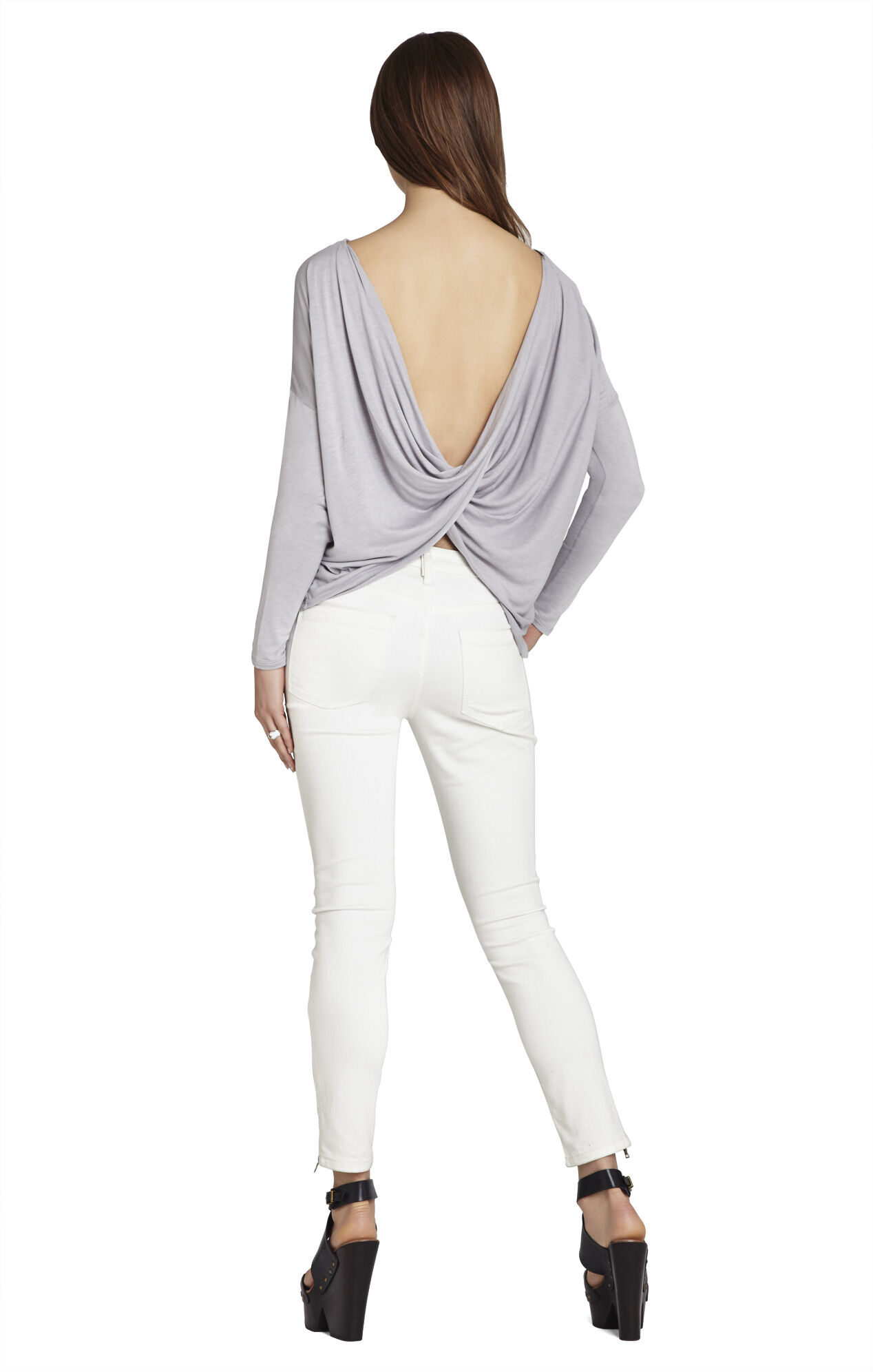 Dae Long-Sleeve Twisted-Back Top