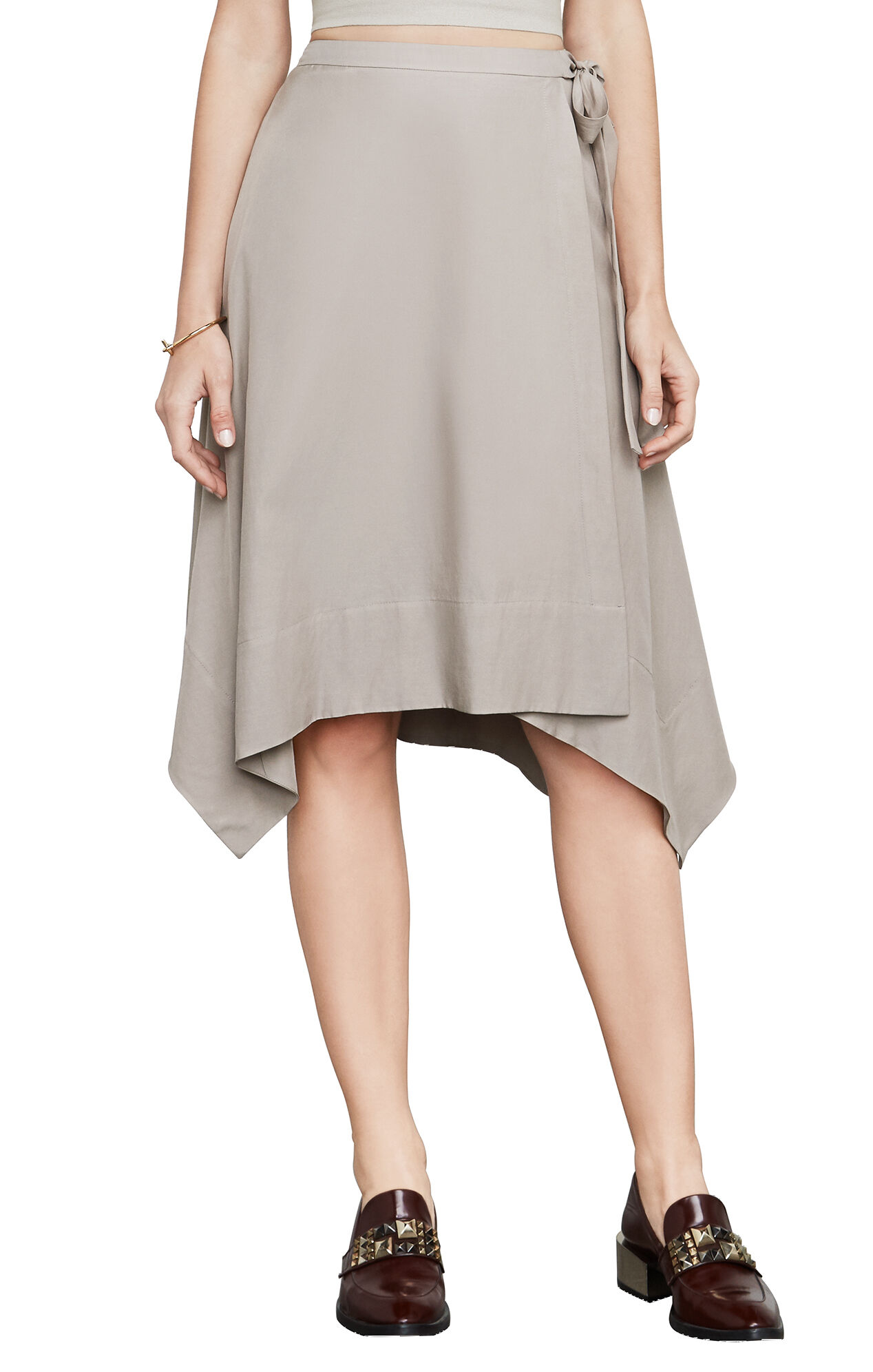 Claire Sueded Faux-Wrap Skirt