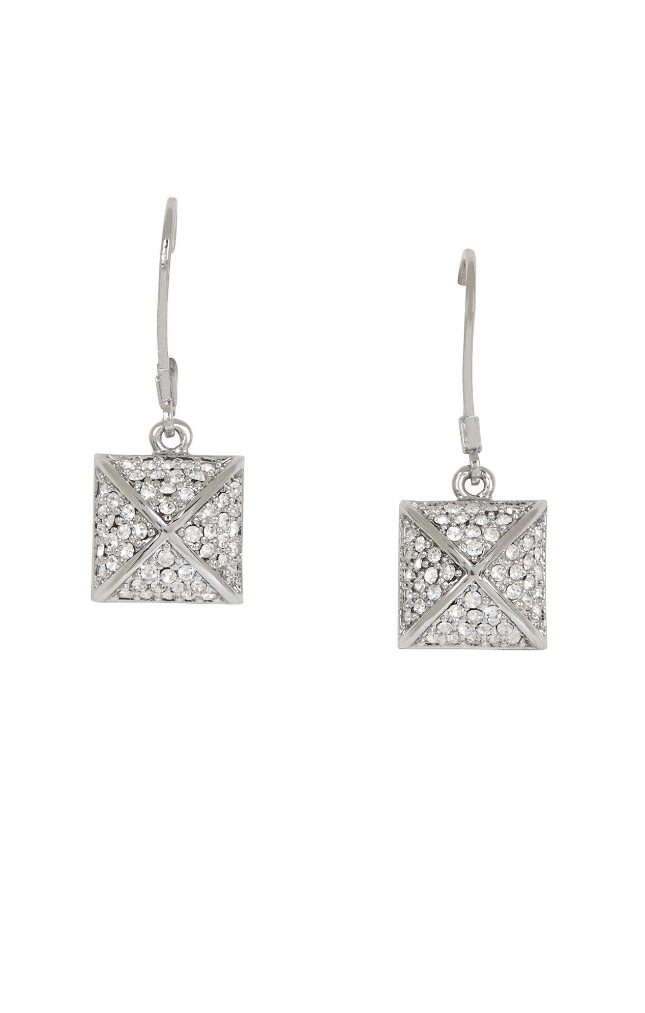 Pave Pyramid Drop Earrings