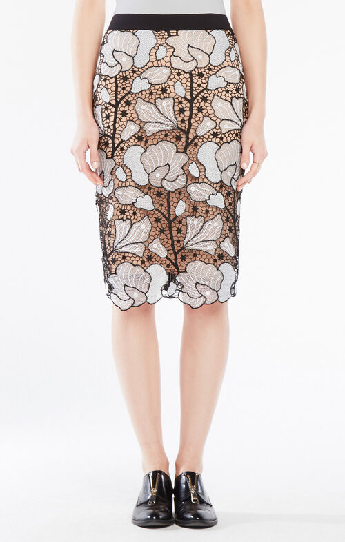 Olly Embroidered Lace Midi Skirt