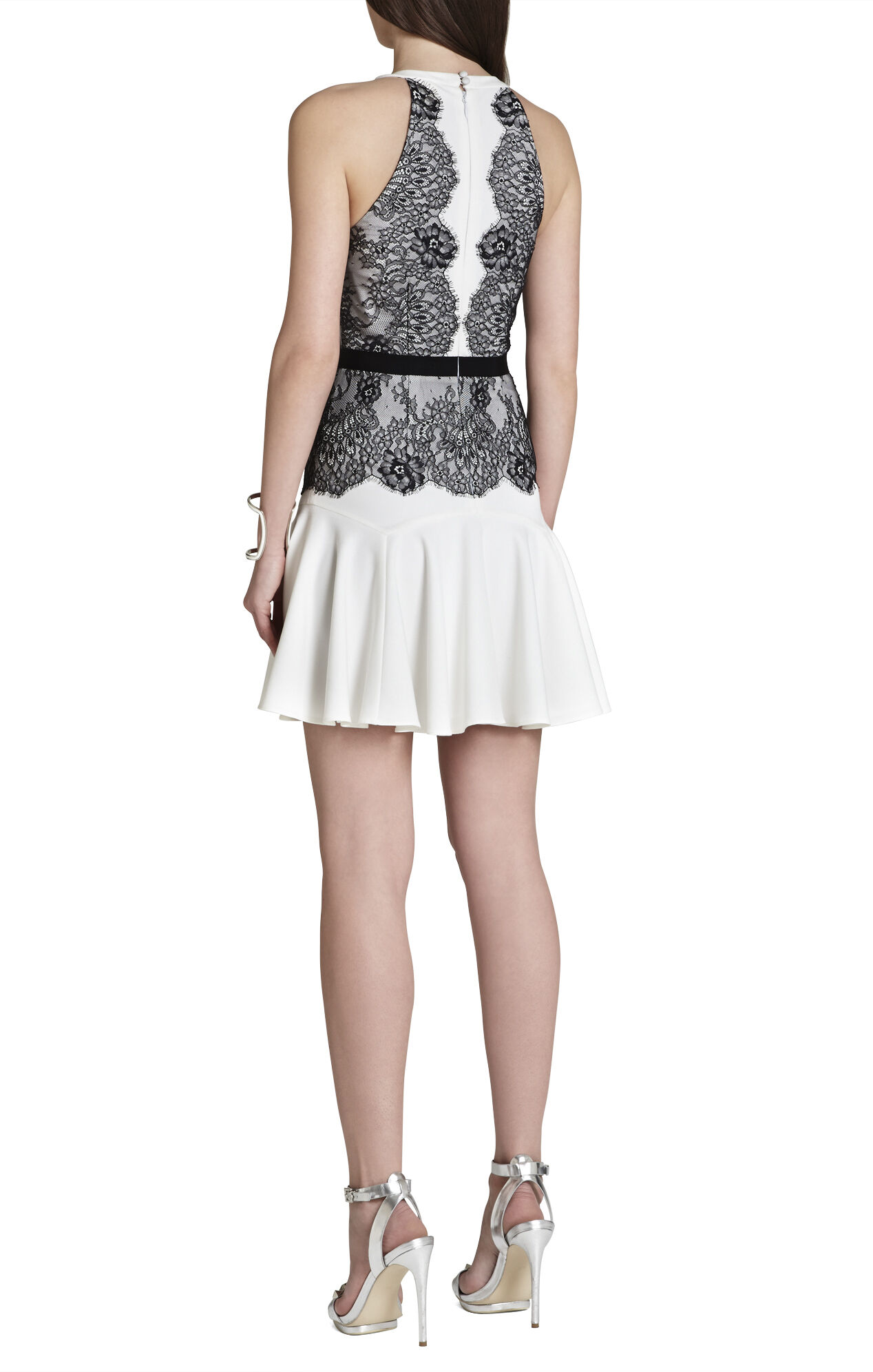 Leyla Halter Lace-Contrast Dress