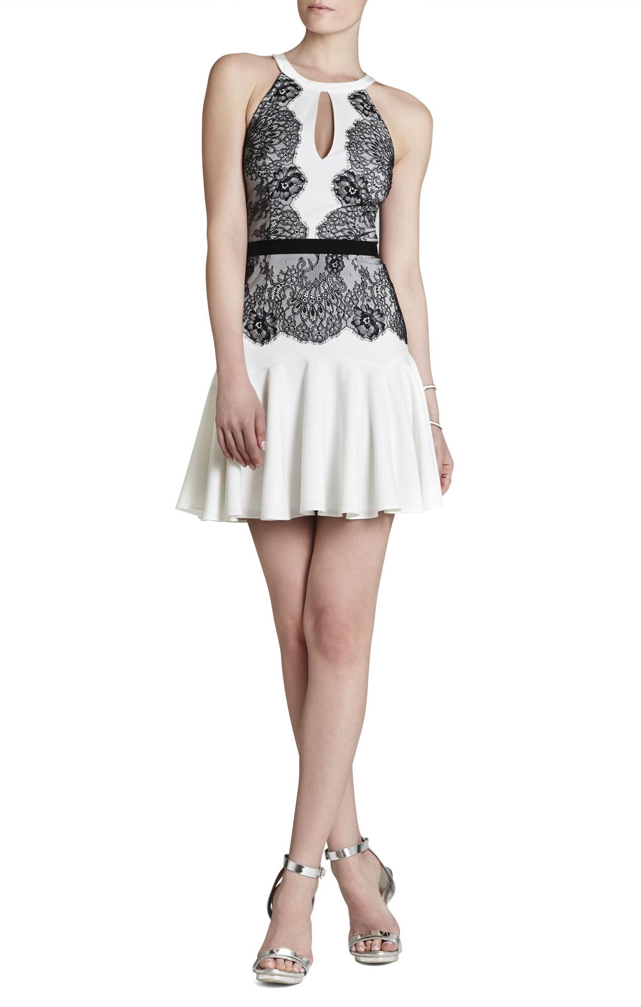 Leyla Halter Lace-Contrast Dress