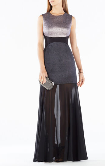 Odeya Metallic Jacquard Sheer Hem Gown