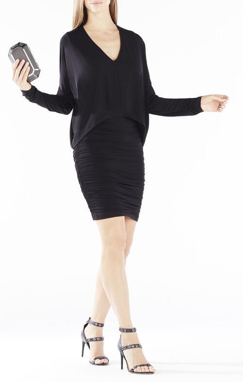 Kaylie High-Low Overlay Shirred Dress