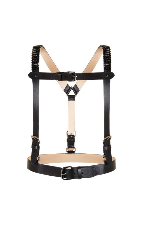 Stone Embellished Faux-Leather Harness